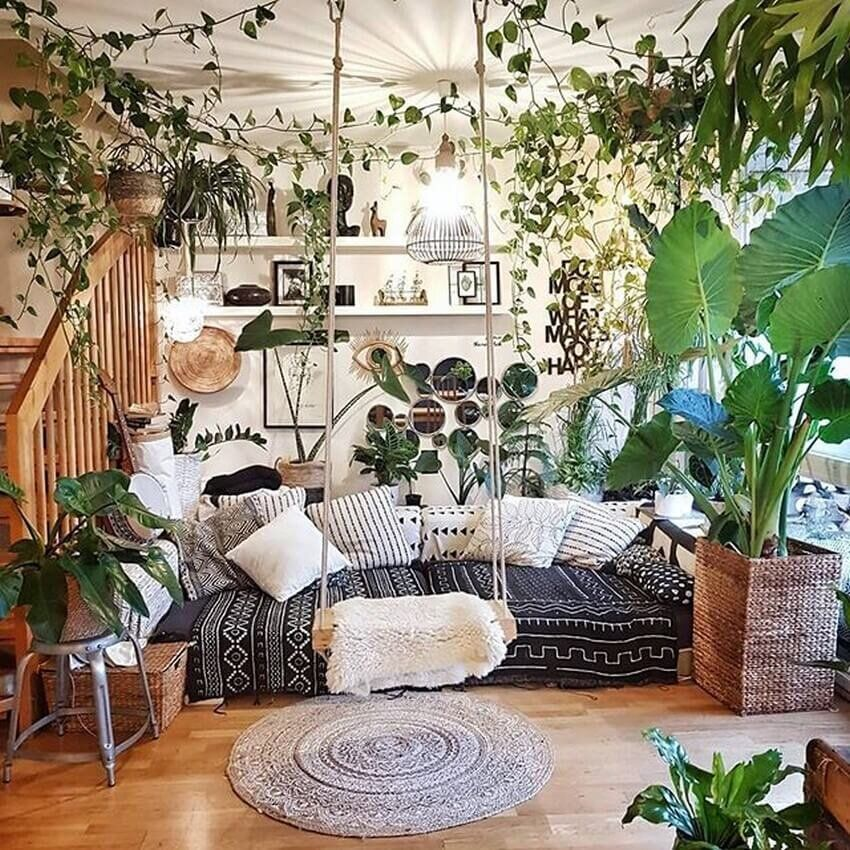 Jungalows, Indoor Gardens, + Living Room Rainforests We'd Copy Right Now in  2020 | Bohemian bedroom decor, Home decor, Home