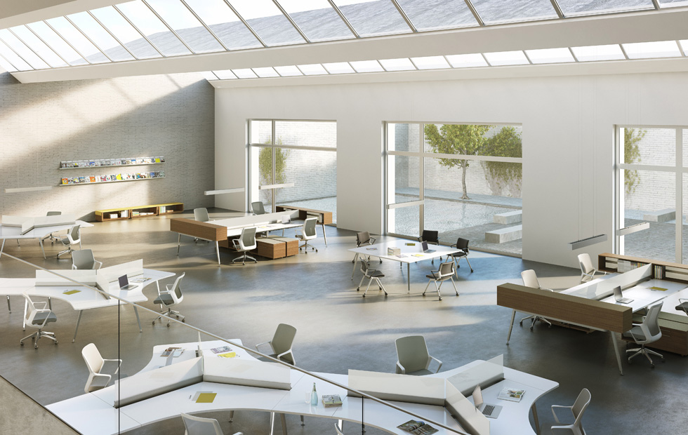 Modern design open space classrooms and offices - Interior design work environment ...