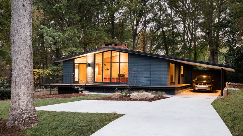 Image result for mid century modern home with large glass panels
