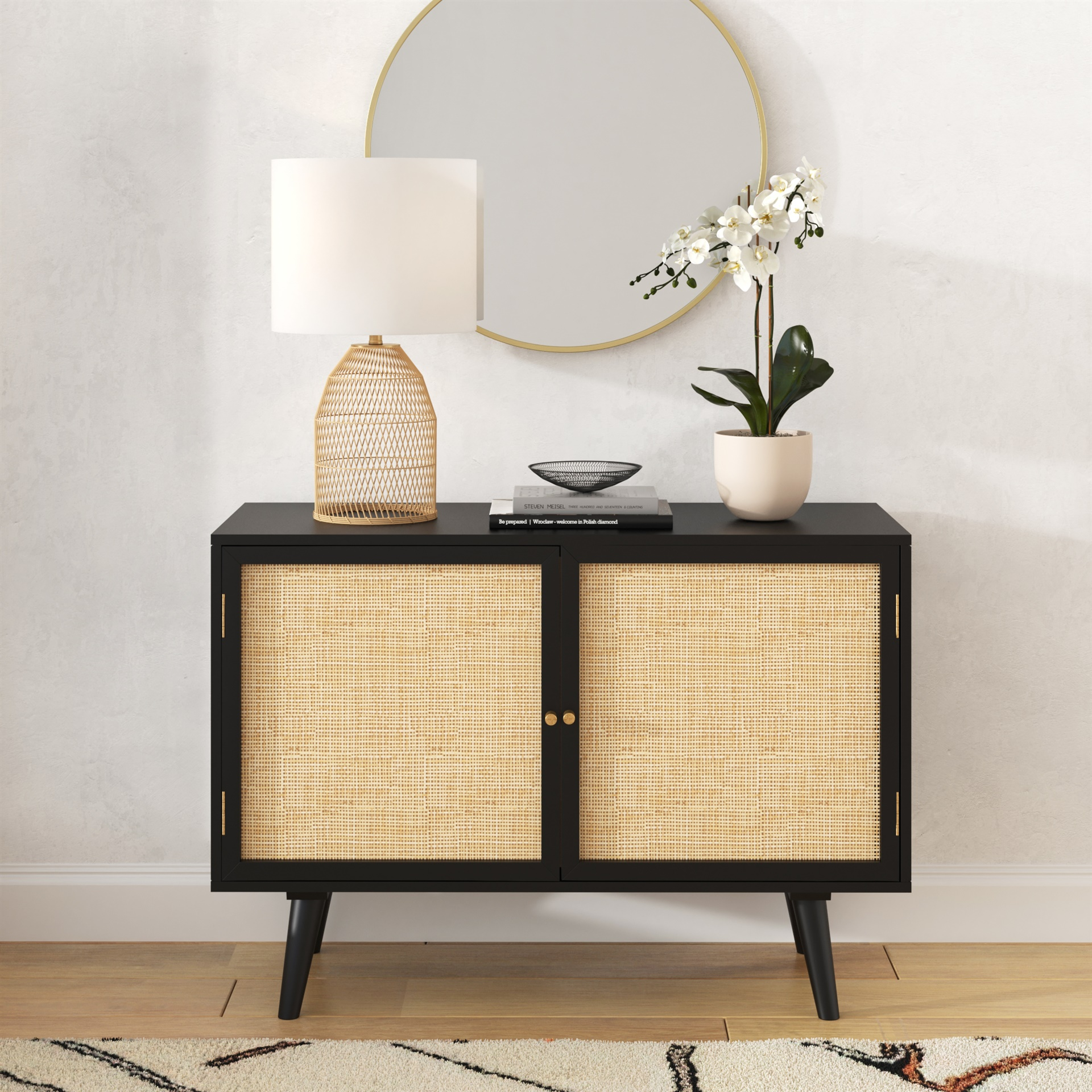 natural cane rattan plant and real mango wood sideboard with vintage peg handles and splayed legs from modern furniture store inmod - padstyle.com