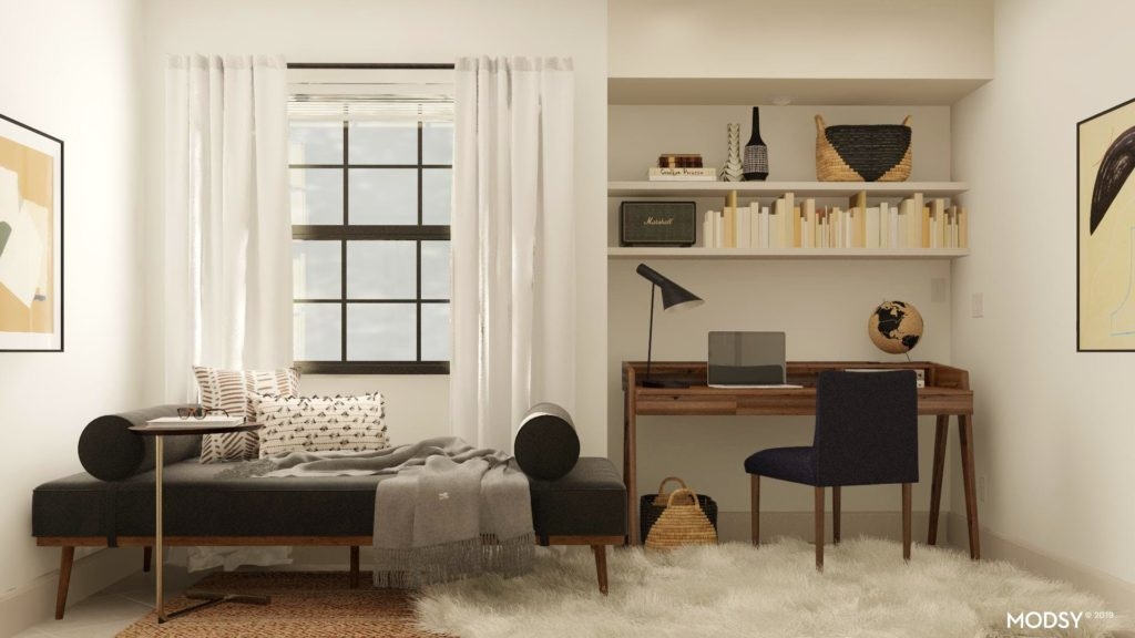 padstyle home office and guest bedroom design mid century modern