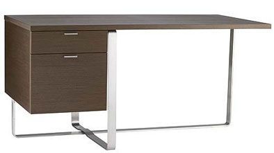 available in maple or dark walnut finish this curvaceous desk comes with a pullout keyboard tray and your choice of a citron ice blue tangerine or white - Designer Desks