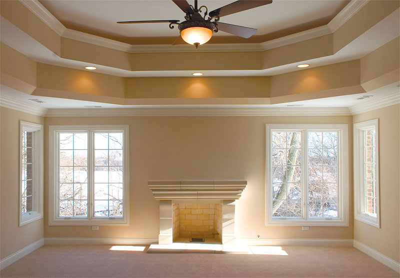 Benefits of a tray ceiling padstyle interior design for Describe the mural on the ceiling of the stage